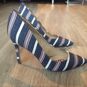 NWOT Sam Edelman denim striped pump size 8